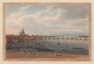 Blackfriars Bridge from Somerset Place with St. Paul's Cathedral in background. Orginally named William Pitt Bridge, it is known by the nearby site of Blackfriars Monastery. After Joseph Farington.