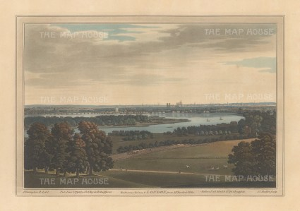 View of Chelsea and part of Battersea from a position southwest of Wimbledon. After Joseph Farington.