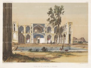 View of Hasht Behesht palace on the Chahar Bagh avenue.