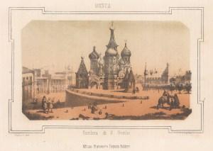 "Pagnoni: St Basil's Basilica, Moscow. c1850. An original colour antique lithograph. 8"" x 6"". [RUSp748]"