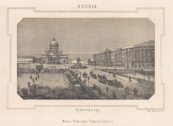 Panoramic view towards St Isaac's and the equestrian statue of Peter the Great.