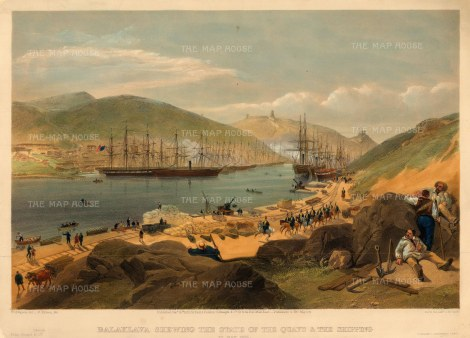 Balaclava: Panoramic view of the Quays and shipping lines during the Crimean War.