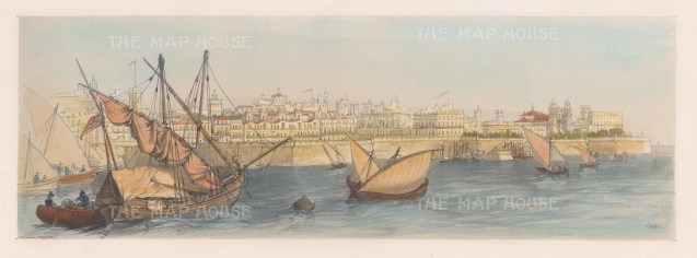 "Vivian: Cadiz. 1838. An original hand coloured antique lithograph. 15"" x 5"". [SPp857]"