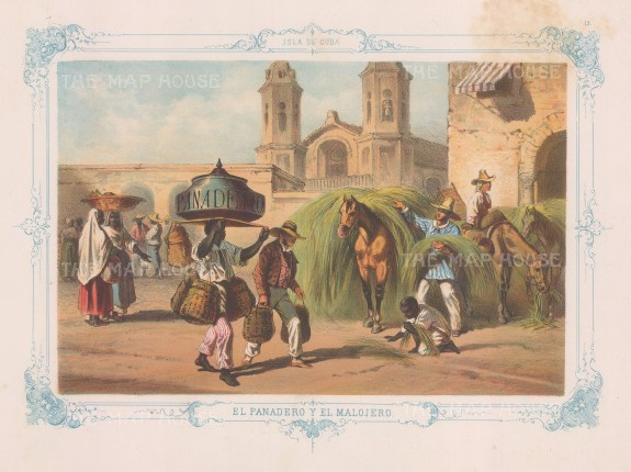 Cuba: El Panadero y El Malojero. The bread seller and hay maker. With decorative blue border. From the 'pirate' edition by Bernardo May.