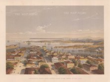 Sebastopol: Panoramic view from the watch tower with the cathedral, Admiralty to the right, Artillery Bay on the left, and looking towards Fort Constantine and the Inkermann lighthouses.