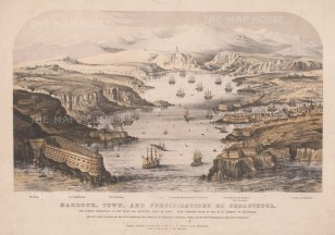 Panoramic view of the harbour, town and fortifications. After H. Schmidt. With key.