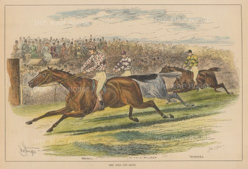 Ascot Gold Cup: Foxhall, rated best on the turf 1881, being ridden by Tom Cannon to beat Faugh-A-Ballagh and Petronell.