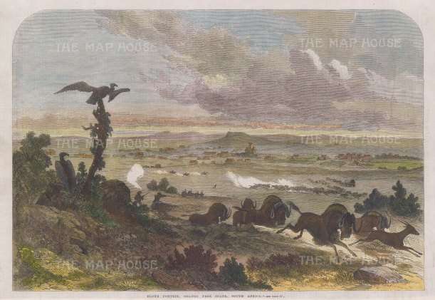 "Illustrated London News: Blomfontein. 1868. A hand coloured original antique wood engraving. 13"" x 9"". [AFRp1425]"