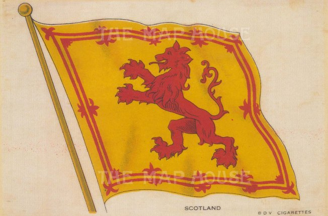 "BDV Cigarettes: Royal Standard of Scotland. c1910. Original printed colour on silk. 6"" x 4"". [ARMp110]"
