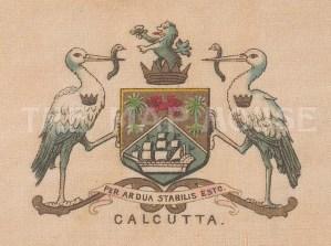 "Cigarette Cards: India. Calcutta city arms. c1915. Original printed colour on silk. 3"" x 2"". [ARMp13]"