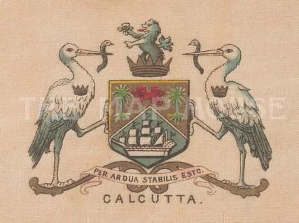 "Cigarette Cards: India, Calcutta city arms. c1915. Original printed colour on silk. 3"" x 2"". [ARMp13]"