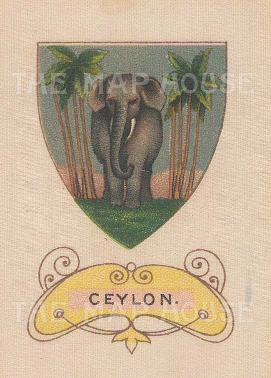 "Cigarette Cards: Flag of Ceylon. c1915. Original printed colour on silk. 2"" x 3"". [ARMp17]"