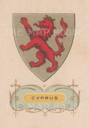"Cigarette Cards: Cyprus. c1915. Original printed colour on silk. 2"" x 3"". [ARMp26]"
