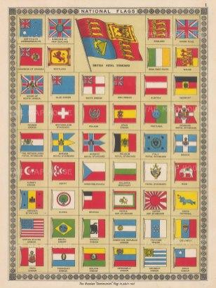 "Boy's Own: National Flags. c1920. An original antique chromolithograph. 7"" x 13"". [ARMp82]"