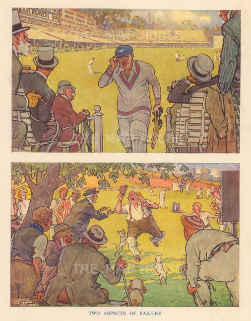 """Punch: Two Aspects of Failure. 1937. An original vintage chromolithograph. 7"""" x 10"""". [DECp2180]"""