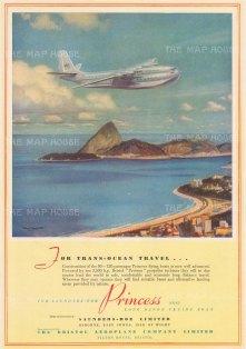 "Illustrated London News. Bristol Airways. 1949. An original vintage chromolithograph. 9"" x 13"". [DECp2189]"