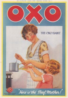"""Illustrated London News: Oxo. 1926.. An original vintage chromolithograph. 9"""" x 13"""". [DEQCp2190]"""