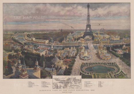 Paris Exhibition and Eiffel Tower with key to the principal installations. After Henry Lanos.