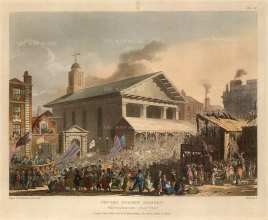 Hustings outside St Paul's Covent Garden. The 1808 election saw Sir Francis Burdett put forward as a candidate without his knowledge and then pursued for electioneering costs.
