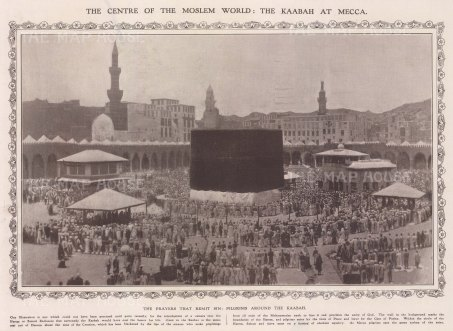 Mecca: View of the Kaaba surrounded by Pilgrims. With decorative border and text.
