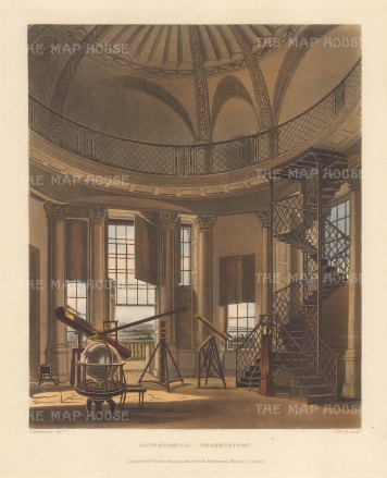 Oxford Astronomical Observatory: Interior with globe, telescopes and other scientific instruments.