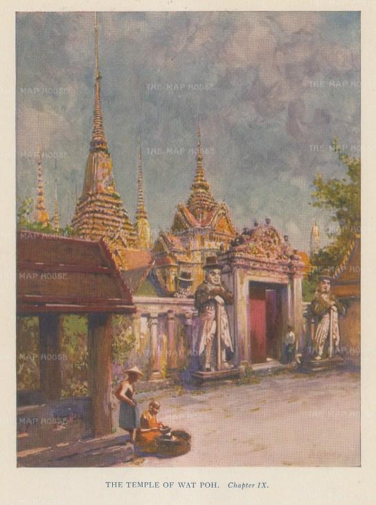 """Norbury: Wat Poh, Bangkok. 1927. An original vintage chromolithograph. 5"""" x 4"""". [SEASp1625]"""