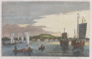 "Illustrated London News: Singapore. 1857. A hand coloured original antique wood engraving. 9"" x 6"". [SEASp1712]"