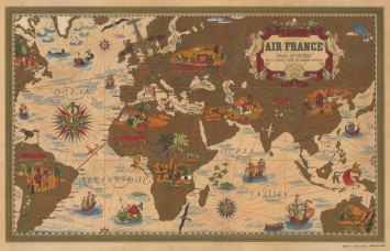"""Nova et Vetera: Air France promotional map poster after Lucien Boucher. Centred on Africa, Asia, and Europe with Air France's routes overlaid in red and highlighted with gold, and with vignettes of traditional methods of travel, ships and sea monsters in contrast to the aeroplanes overhead to reinforce the titular theme of """"old and new""""."""