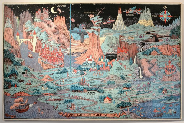 Whimsical map of an imaginary fairy-tale. Created during the Great Depression and exhibited it was exhibited in the children's section of the 1933 Chicago World's Fair, the map soon found its way into bedrooms and schoolrooms across the country.