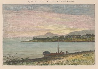 "Reclus. Lake Tanganyika, Tanzania. 1894, A hand coloured original antique wood engraving. 7"" x 5"". [AFRp1419]"