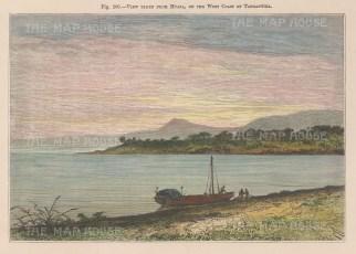"Reclus. Lake Tanganyika, Tanzania. 1894. A hand coloured original antique wood engraving. 7"" x 5"". [AFRp1419]"