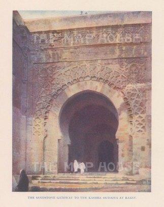 "Vernon: Udayas Kasbah, Rabat, Morocco. 1927. An original colour vintage photo-lithograph. 4"" x 5"". [AFRp1431]"