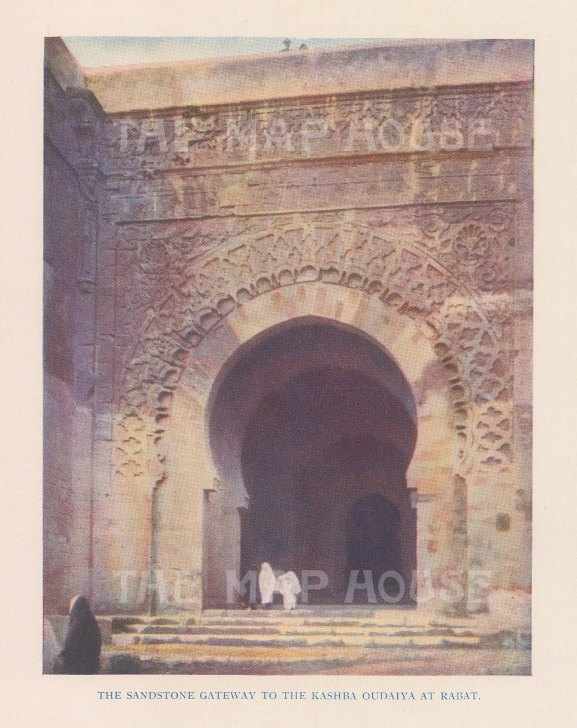 "Vernon: Udayas Kasbah, Rabat, Morocco. 1927. An original colour vintage photo-lithograph. 4"" x 5"". [AFRp1431]"