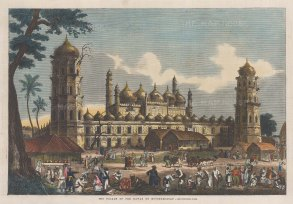 "Illustrated London News: Moorshedabad. 1858. A hand coloured original antique wood engraving. 14"" x 9"". [INDp1257]"