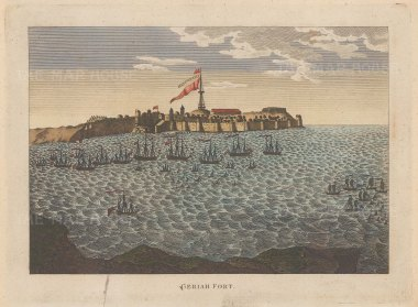 Vijaydurg (Geriah) Fort: Base of the Maratha pirate Tulagee Angria under attack by an Indo-Portuguese naval force commanded by British Admirals Pocock and Watson
