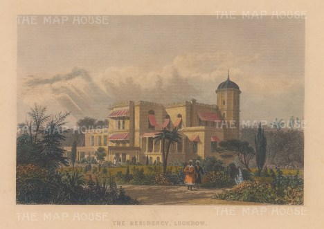 """Allom: British Residency, Lucknow. c1840. A hand coloured original antique steel engraving. 8"""" x 6"""". [INDp1395]"""