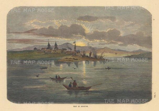 "Collins: Okhotsk, Russia. c1870. A hand coloured original antique wood engraving. 10"" x 7"". [RUSp811]"