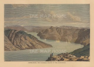 """Reclus: Lyster Fjord, Norway. 1894. A hand coloured original antique wood engraving. 8"""" x 6"""". [SCANp374]"""