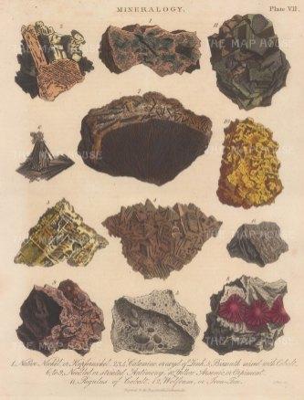 Nickel, Calamine, Bismuth, Antinomy, Arsenic, Regulus and Wolfram. Engraved by John Pass.
