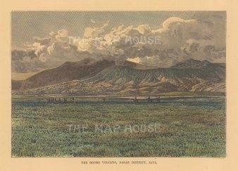 "Reclus: Mount Bromo, Java. 1894. A hand coloured original antique wood engraving. 8"" x 6"". [SEASp1720]"
