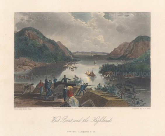"""Picturesque America: West Point, New York. 1872. A hand coloured original antique steel engraving. 9"""" x 6"""". [USAp5005]"""