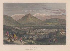 "Ramage: Kabul. c1840. A hand coloured original antique steel engraving. 8"" x 5"". [AFGp160]"