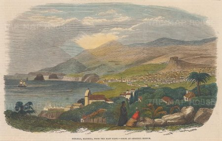 """Illustrated London News: Funchal, Madeira. 1853. A hand coloured original antique wood engraving. 10"""" x 6"""". [AFRp1044]"""