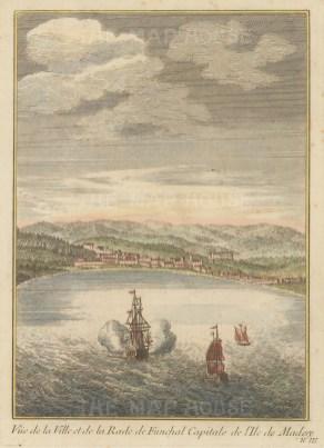 "Bellin: Funchal, Madeira. c1760. A hand coloured original antique copper engraving. 6"" x 8"". [AFRp1151]"