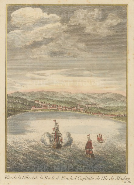 "Bellin: Funchal, Madeira. c1760. A hand coloured original antique copper engraving. 6"" x 8"". [AFRp1151]"