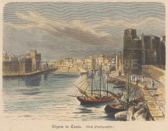 "Geiltbeck: Bizerte, Tunisia. 1897. A hand coloured original antique wood engraving. 5"" x 4"". [AFRp1168]"