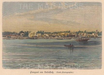 "Geiltbeck: Pangani, Tanzania. 1897. A hand coloured original antique wood engraving. 5"" x 4"". [AFRp1171]"