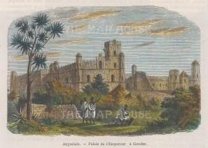 "Garnier: Gondar Castle, Ethiopia. 1876. A hand coloured original antique wood engraving. 6"" x 4"". [AFRp1182]"