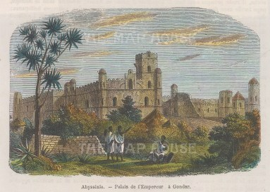 "Garnier: Gondar Castle, Ethiopia. 1876. A hand coloured original antique wood engraving. 6"" x 4"". [AFRp1182]"