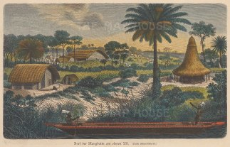"Geiltbeck: Mangbetu Tribe, Congo. 1897. A hand coloured original antique wood engraving. 7"" x 5"". [AFRp1187]"